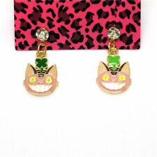 Crystal Betsey Johnson Women Stand Earrings New Pink Enamel Cute Digimon Cat