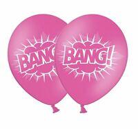 """Superhero 'BANG' 12"""" Printed Rose Pink Latex Balloons 6 ct by Party Decor"""
