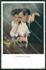 Clarence Underwood Romantic Couple MM Vienne 742 postcard cartolina QT7097