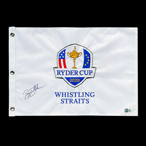 Bryson DeChambeau Signed 2020 Ryder Cup Whistling Straits Golf Flag Auto Beckett