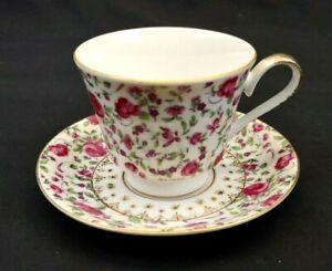 Rose Briar China Tea Cup and Saucer T-1800  Pink Roses Gold Trim