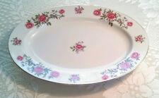 """Vintage Floral ROSE ANN Pink Red Serving Platter Dish NASCO Japan Gold Rim 12"""""""