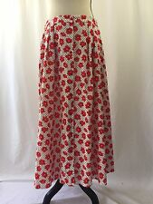 Pendleton Rockabilly Maxi Skirt Womens 16 Red Floral Polka Dot Button Front Long