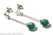 9ct White Gold Green Agate Teardrop Earrings Made in UK Gift Boxed