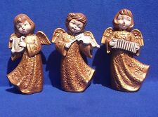 """Vintage 3 Piece Ceramic 8"""" Figurines of Angels Playing & Singing Holiday Cheer"""