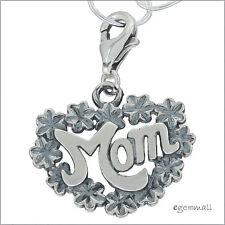 Sterling Silver Love Mom Clip On Pendant Charm For European Bracelet #94073
