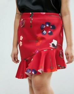 Asos Asymmetric ruffle mini Red Tier salsa dance  Skirt Floral new size 18