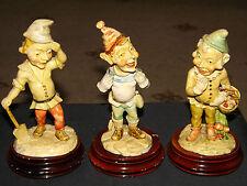 3 x Vintage Adorable Cute Collectable Resin Elfs Pixies Gnomes Dwarfs Figurines