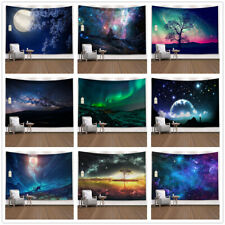 Psychedelic Galaxy Tapestry Full Moon Aurora and Stars Wall Hanging Carpet Decor