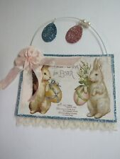 Bethany Lowe Easter Post Card Ornament Tl8710 Best Wishes W Bunnies