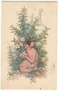 Latvia  signed  A.APSITS - from the set  FLOWERS FANTASY - Naked Girl used 1930