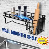 Wall Storage Shelf Hanging Rail Rack Stand Iron Mounted Tidy +Sticker Kitchen
