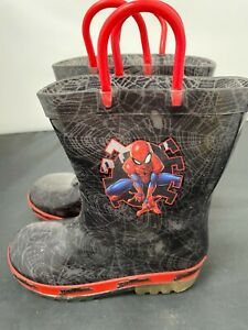 Kids, Spiderman, Red and Black, Wellington Boots, Size UK -10