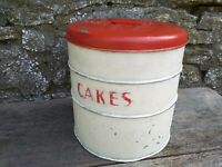 Collectable c1950's Vintage Tala 3 x Stacking Cake Tins & Lid - Cream and Red