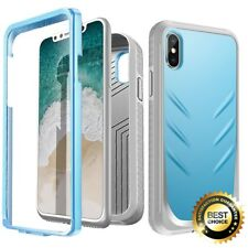For iPhone X Full-Body Rugged Case Poetic Revolution Shockproof TPU Cover Blue