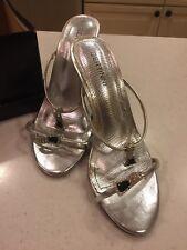 Women's Bertinni Silver Strappy Open Toe Sandal Heels Size 6 New