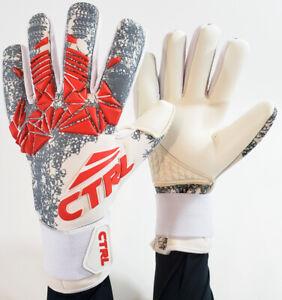 CTRL PRO Contact Foam Negative Soccer Goalkeeper Goalie Gloves White Red Gray 8