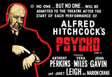 Vintage Psycho Poster, Alfred Hitchcock, No Admittance After Start of the Movie