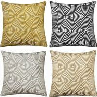 "Lucy Embroidered Luxury Cushion Cover Modern Geometric Knitted Design 18"" x 18"""