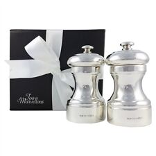Sterling Silver Salt and Pepper Mill with Peugeot Mechanism, Gift Boxed