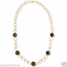"Genuine Smoky Quartz Chain Necklace Real 14K Yellow Gold 28"""