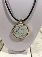 Kette NEU Halskette kurz schwarz gold grau Mamor Rund Kreis elegant Modeschmuck