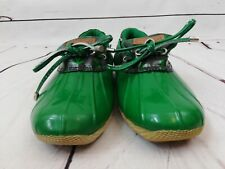 Sperry Duck Boots Low Navy Green Waterproof Booties Womens Shoes Sz 6.5 VGUC