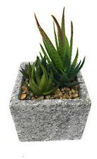 Pianta grassa artificiale finta vaso quadrato composizione 3 piante grasse 5114