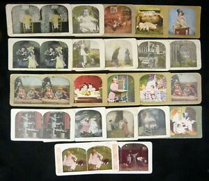 22 Animal & Children Stereoviews Color & B/W Lithos Comic Genre Griffith Etc.