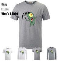 Cute Cartoon Spongebob Plankton Graphic Long Short Sleeves Men's T-Shirt Tee Top