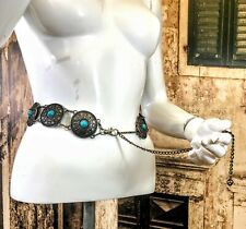 Vintage Retro effect chain belt link hippie boho steam punk size S/M 8-10