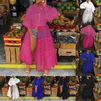 ❤️ Women Sexy Mesh Skater Dress Ladies Long Sleeve Button Shirt Split Maxi Dress