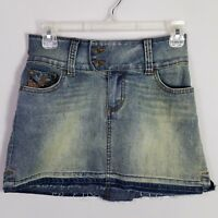 Denim Mini Skirt Distressed Wide Band Vintage Wash Frayed Womens Size 3 4