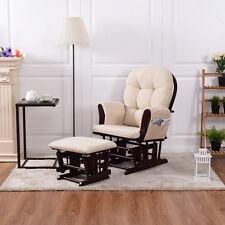 Baby Nursery Relax Rocker Rocking Chair Glider & Ottoman Set w/ Cushion Beige