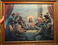 vintage Lenticular 3D Hologram Last Supper print framed