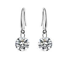 Women Silver Plated Drop Crystal Earrings Dangle 8mm Rhinestone Earring