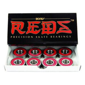 BONES REDS BEARINGS - NEW GENUINE FREE POSTAGE SKATEBOARD BEARINGS X8 RED SILVER