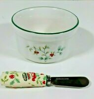 Pfaltzgraff Winterberry Christmas Holiday Dip Serving Set Crock Bowl Ramekin