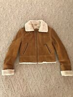 Wilsons Leather Suede Faux Fur Jacket Tan Caramel Womens Size Medium Zip Up Coat