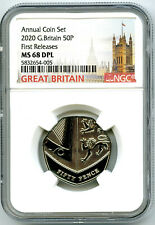 2020 GREAT BRITAIN 50P NGC MS68 DPL DEEP PROOF LIKE FIRST RELEASES RARE