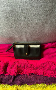 Fossil Keely Black & White Crossgrain Leather Photo ID Zip Credit Card Wallet