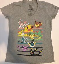 Mighty Fine Pokemon Eevee Evolutions Girls Women Short Sleeves V-Neck T-Shirt Md