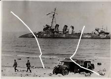 18x13cm VINTAGE ORIGINALI ARCHIVIO FOTO 1940 WWII wk2 Dunkerque NAVE DA GUERRA PHOTO