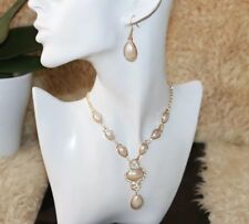 Ladies Acrylic Pearl wedding or prom fashion necklace & drop earrings set