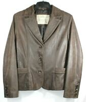 Ashwood Womens Biker Style Real Hide Leather Jacket Brown Very Soft Size M 10-12