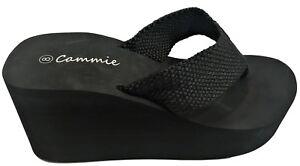 Women High Wedge Heel Platform T-strap Flip Flops Open Toe Sandal Black