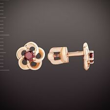 Russische Rose Rotgold 585 Ohrstecker mit Granate. BLUME Garnet stud earrings!