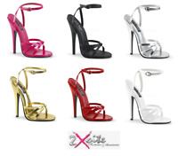 "PLEASER DOMINA 108 ANKLE STRAP 6"" STILETTO HIGH HEEL SANDALS SHOES SIZES 3-13"