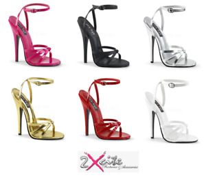 """PLEASER DOMINA 108 ANKLE STRAP 6"""" STILETTO HIGH HEEL SANDALS SHOES SIZES 3-13"""