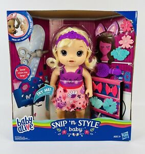 NEW Baby Alive Snip 'n Style Baby Girl Blonde Doll Hair Grows & Retracts hasbro